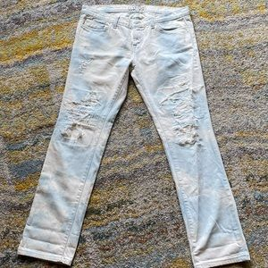 White / blue acid stained ripped jeans